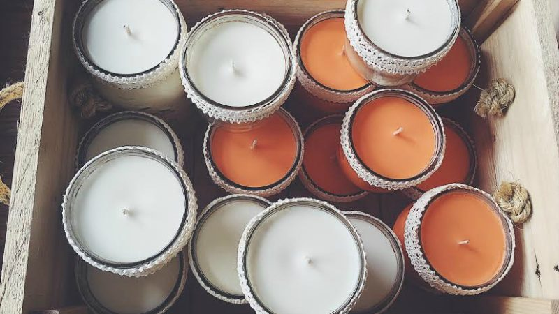 Homemade soy wax candles